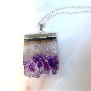 Amethyst Geode Slice Pendant Necklace